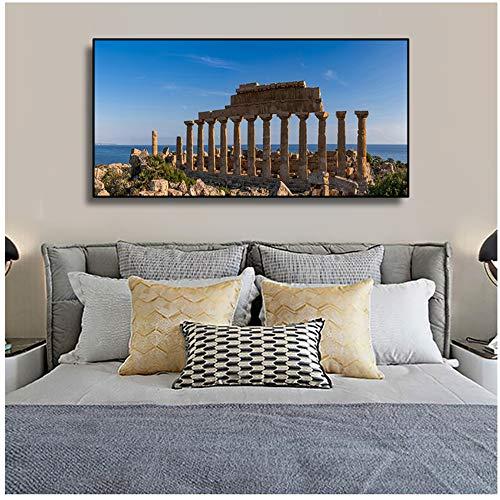 Quadri su Tela Edifici antichi ad Atene, Grecia Quadri su Tela Immagini su Tela per Soggiorno Decorazione Domestica Moderna Pittura-60x120cm Senza Cornice