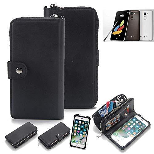 K-S-Trade® 2in1 Handyhülle Für LG Stylus 2 DAB+ Schutzhülle und Portemonnee Schutzhülle Tasche Handytasche Case Etui Geldbörse Wallet Bookstyle Hülle Schwarz (1x)