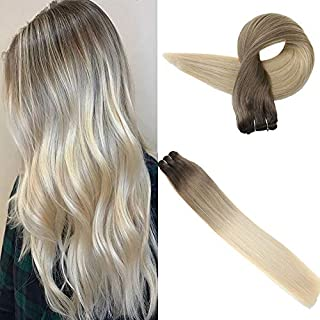 Easyouth Remy Brazilian Hair Bundles 18 Inch 80 Gram per Pack Color 8 Ash Brown Fading to 60 Light Blond Balayage Color Silky Straight Brown Roots Sew in Extensions