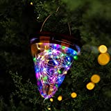 PUHPIG Hanging Solar Lanterns Outdoor, LED Solar Garden Lights Waterproof Landscape Lanterns Super Bright Cone Solar Powered with 3 Lighting Modes for Patio Pathway Lawn Deck Yard Decoration