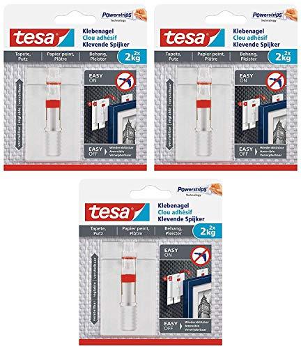 tesa® Verstellbarer Klebenagel für Tapeten und Putz 2 kg (3 Packungen = 6 Klebenägel)