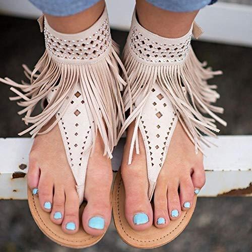 FKYGDQ Las Mujeres De Bohemia Sandalias Sandalias Planas De Los Zapatos De Borlas Ocasional del Verano (Color : White, Size : 38)
