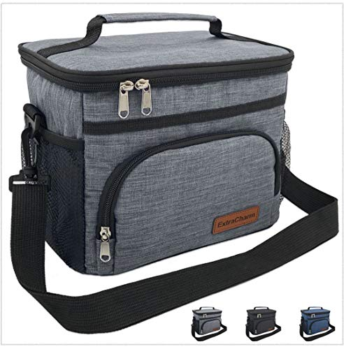 Insulated Lunch Bag for Women/Men - Reusable Lunch Box for School Office Picnic Hiking Beach - Leakproof 12-Can Coke Cooler Tote Bag Organizer with Adjustable Shoulder Strap for Kids/Adults - Grey