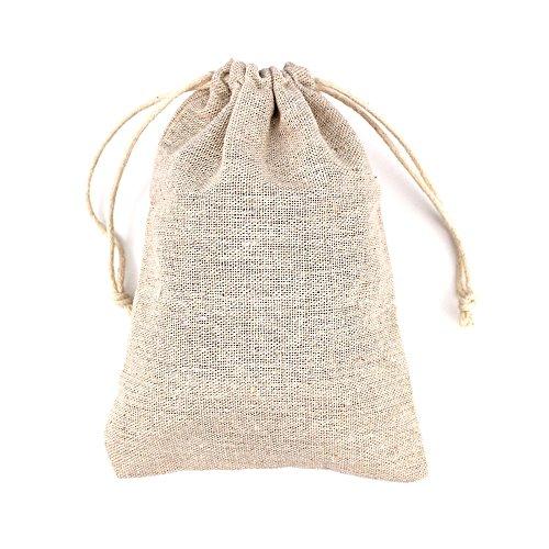 RUBY - 50 Bolsas de Lino 12cmx17cm, bolsitas de Tela, Saco arpillera, Bolsas para el Bricolaje, artesanales, para popurrí, reuniones, Bodas, Son fáciles de Cerrar y Abrir (L)