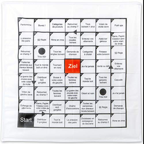 [FRANZÖSISCHE VERSION], Polnisches Trinkspiel, auf 70 x 70 cm Tischdecke, 54 Spielfelder mit Aufgaben, Party Trinkspiel, witziges Saufspiel, Partyspiel für Geburtstag, Festival, Vorglühen, Brettspiel