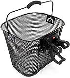 ZNOUSH Cesta de Bicicleta Desmontable 32.5x24x23.5cm Cesta de Bicicleta de Malla de Acero Negro con Asas (Color : Black)