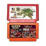 fleeting time GaoHR 2 Piezas Colección de Juegos (500 en 1 + 198 en 1) 60 Pines Game Cartridge Fit for 8 bit Game Console con Nija contra Dk, etc. HR