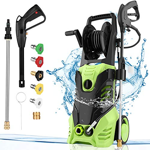Homdox 2950 PSI Electric Pressure Washer 2.0 GPM High Pressure Washer 1800W Electric Power Washer Cleaner with Hose Reel 5 Nozzles