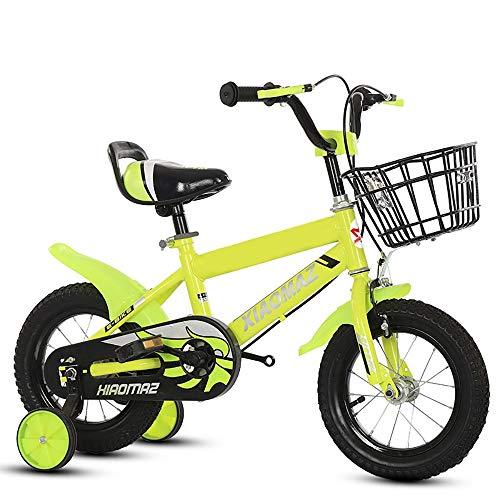 Mediawave Store - Bicicletta per Bambini Magic Taglia 12 con Cestino età 3-5 Anni con rotelle Che Si Montano e smontano, Sella Regolabile, Freni a Tamburo Posteriori (Gialla)