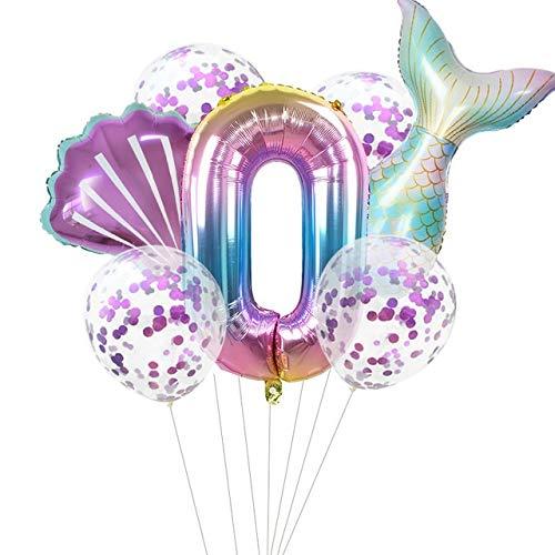 globo Globos del partido 7pcs / porción de 32 pulgadas globo de la hoja Número fiesta de cumpleaños de los niños decoraciones de la ducha Decoración Globos de helio Decorar ( Color : Number0 SetA )