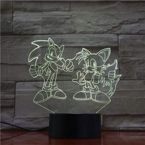 QB Nachthemel, 3D-cartoon-fantasie nacht Sonic Action Figuur 3D LED-lampen De Anime Sonic The Hedgehog hoofdverlichting als cadeau