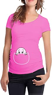 Cartoon Baby Peeking Maternity T-shirt Tops for Women - Sandwind Cotton Short Sleeve Round Neck T-shirt Casual Funny Cute Pregnant Graphic Breastfeeding Tops