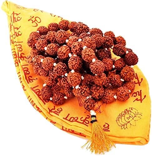 Craftlook Rudraksha Mala 108 cuentas, collar de cuentas de semilla natural Himalaya Rudraksha Seed Oración Perlas Muñeca Mala Wrap Pulsera Tamaño (2 unidades)