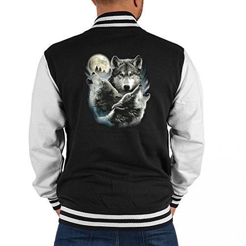 Goodman Design ® USA Biker College-Jacke für Herren - 3 Wölfe Zwei Davon heulen bei Vollmond - Geschenk-Idee mit aktuellem Wolf Motiv, Größe:XXL