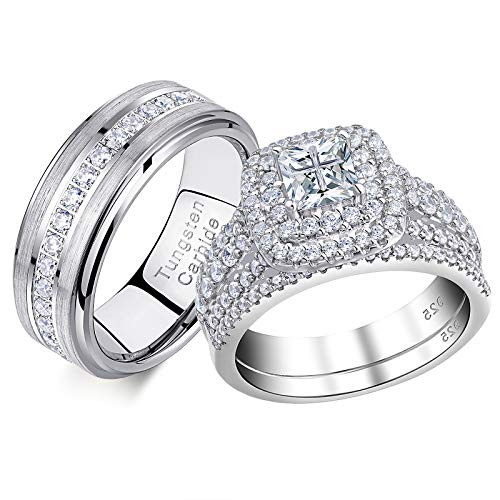 Newshe Wedding Rings Set for Him and Her Women Mens Tungsten Bands Princess Cz 2.3Ct Sterling Silver 8.5&12