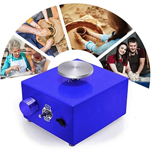 TTLIFE Mini rueda de alfarería, máquina de alfarería eléctrica 2000 RPM máquina para hacer cerámica, carga 0,5 kg herramienta de arcilla DIY con plato giratorio de 6,5 cm