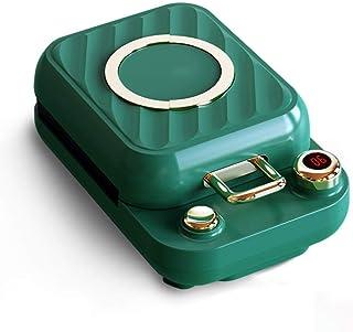 Djupfyllning Våffelmaskin Snack Maker 0-10 Min Timer Panini Rostade Smörgåsplattor (Color : Green)