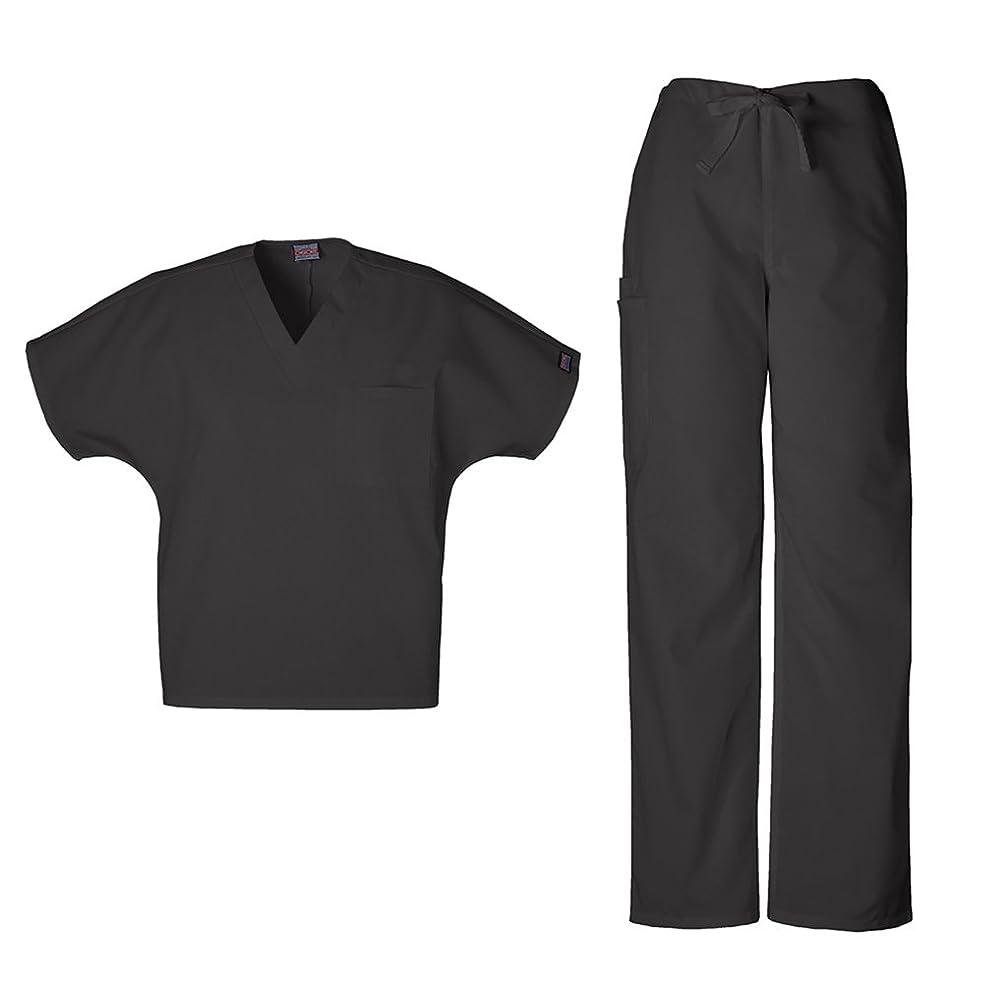 メタン岩チェロキーワークウェアユニセックスVネックトップ4777?& Drawstring Pant 4100スクラブセット カラー: ブラック