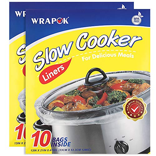 WRAPOK Slow Cooker Liners Cooking Bags BPA Free for Oval or Round Pot, Large Size 13 x 21 Inch, Fits 3 to 8.5 Quarts - 2 Pack (20 Bags Total)