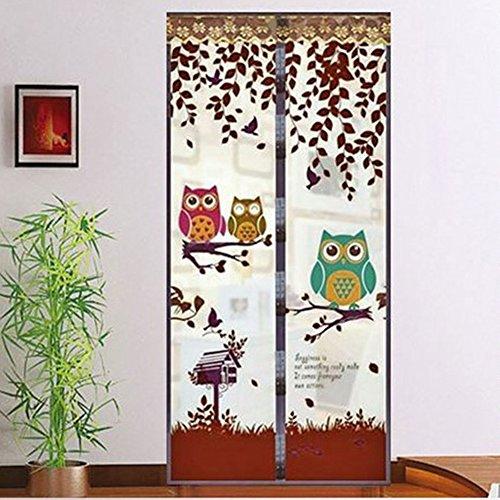 Mosquitera magnética para puerta, diseño de búho de malla, mosca magnética, mosquitera para puerta, cortina de malla de 90 x 210 cm, café, 90*210cm