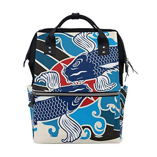 DEZIRO Canvas Japanse Koi Vispatroon Daypack voor Vrouwen Rugzakken