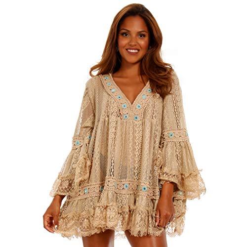 YC Fashion & Style Damen Strand Kleid Minikleid Tunika mit Mini Pompons Häkeleinsatz und Spitze stylisches Sommer Jumper Freizeit-Kleid Made in India (One Size, Beige)