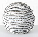 Homestyle & more Kugel Rosina Wellen Terrakotta grau weiss gewischt Gartendeko Dekokugel