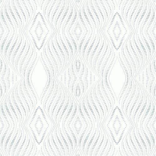 Debona Jewel Strass Streifenmuster Tapete Silber Metallisch Glitzer Geprägt - Weiß 2470