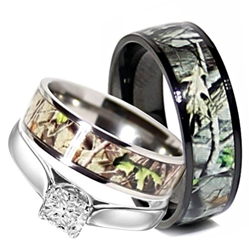 Camo Wedding Rings Set His and Hers 3 Rings Set, Stainless Steel and Titanium (Size His 11, Hers 08)