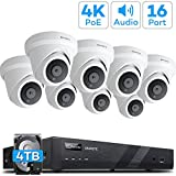 [Audio] ONWOTE 16 Channel 4K IP PoE Security Camera System 4TB HDD, 16CH 4K H.265 NVR, (8) Outdoor 4K 3840x 2144 8.23 Megapixels PoE IP Camera, Dome, 100ft IR, 94° Viwe Angle, Easy Remote Access