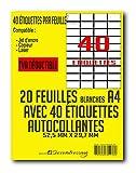 SECRETDRESSING ® - 20 planches A4 de 40 étiquette adhésive = 800 étiquettes autocollantes FBA AMAZON papier adhésif blanc - 52,5 x 29,7 mm - TVA DEDUCTIBLE