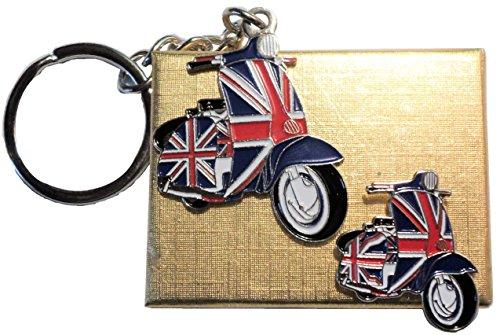 Geschenkbox GB Union Flagge verdeckt Scooter Schlüsselanhänger aus Metall & Emaille Button-Set Mod
