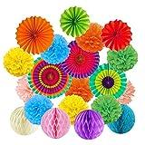 Papier-Fans zum Aufhängen, bunte Papier-Pompons, Blumen, Wabenbälle, Regenbogen-Party-Dekoration, Geburtstage, Festivals, Karneval, Abschlussfeier, Weihnachten 20PCS