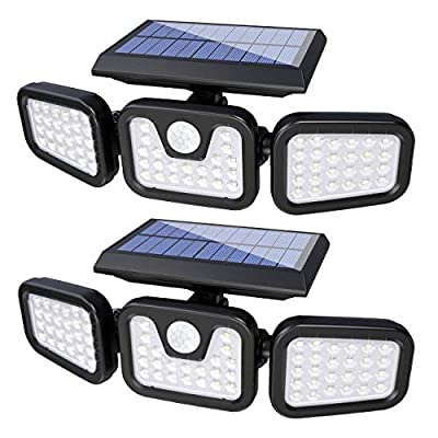 Solar Lights Outdoor with Motion Sensor, 74 LED 3 Adjustable Heads Security Lights, 360° Rotatable Solar Wall Lights, IP65 Waterproof for Porch Garage Yard Entryways Patio, 2 Pack