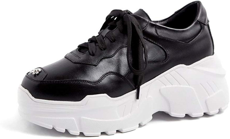 HRN Frauensportschuhe, runder runder runder Lederkopf, Dicker Boden, erhöhte Schuhe, Freizeitschuhe mit flachem Boden, Neuer Winterstil,schwarz,40EU  f6e2a0