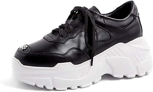 HRN Chaussures de Sport pour Femmes, Cuir, tête Ronde, Fond Fond Fond épais, Chaussures renforcées, Chaussures de Sport à Fond Plat, Nouveau Style Hiver,noir,36EU ee2