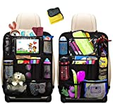 HE-TOP Car Backseat Organizer, Car Organiser for Kids with 10.1'iPad Tablet Touch Screen Holder & 12 Storage Pockets Seat Back Protectors Kick Mats for Toy Bottle Book Drink (2 Pack)