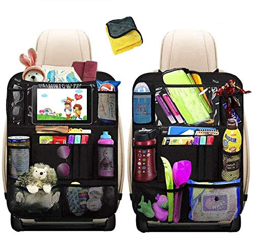Auto Rückenlehnenschutz, Heyham Autositz Organizer mit Taschen Rücksitz Schutz Kick Matte Auto Rücksitz Organizer für Kinder mit Durchsichtigem Großen Tablet iPad Fach