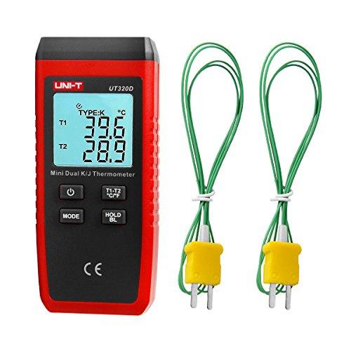 GALOOK UNI-T UT320D Dual Kanal K/J Digitales Thermometer, LCD Hintergrundbeleuchtung Temperaturmessgerät mit 2 K-Typ Messsonde für Industrie, Landwirtschaft, Meteorologie und Leben