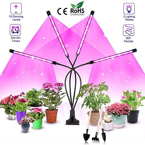 Vollspektrum LED Pflanzenlampe für Zimmerpflanzen,80W LED Plant Grow Light,4 Köpfe Grow Lampe mit Timer/360 ° Verstellbarer Schwanenhals/ 10 Dimmstufen / 3 Schaltmodi für Sukkulenten Grow Zelt