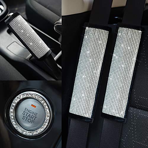 Valleycomfy Soft Velvet Seat Belt Shoulder Pads with Bling Rhinestones Car Bling Seat Belt Covers for Women, Crystal Handbrake Cover, Bling Ring Set Bling Car Accessories 4 Pack Set Universal