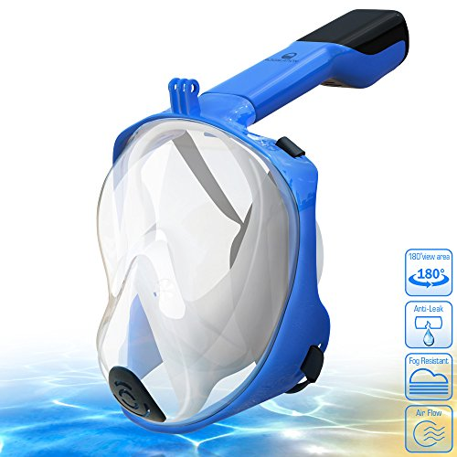 [NEW 2018 UPGRADED] Snorkel Mask Full Face - 180° Large Panoramic View - Snorkeling Mask with...