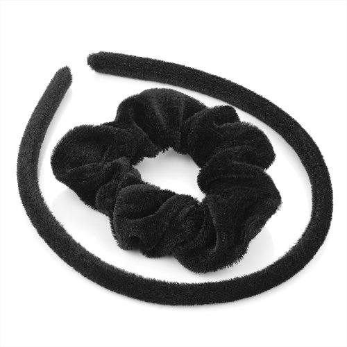 Hair Set - Black Velvet Fabric Covered Alice Band and Scrunchie Hair Band Set by Pritties Accessories