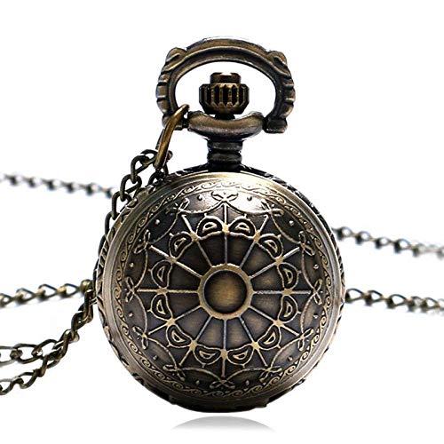 LYMUP Reloj de bolsillo, collar de araña de bronce con cadena para mujer, regalo de señora, vapor (color bronce)