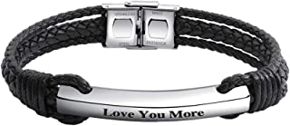 Personalized Black Braided Leather Bracelets Customized...