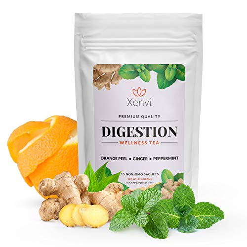 Xenvi Digestion Tea with Organic Ginger, Peppermint, and Orange Peel, Herbal Tea for Bloating, Gas, and Nausea Relief (15 Sachets)