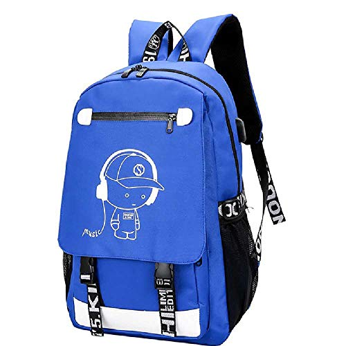 NUOLAN Luminous Design Satchel School Bag for Boys USB Charge High School Collage Teenager Backpack Large Mochila with Anti-theft Lock 1PCS/blue