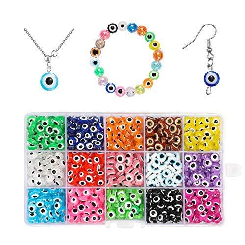 750 cuentas de ojo maligno de 8 mm, cuentas planas redondas de resina de 15 colores con caja de almacenamiento para joyas de bricolaje..