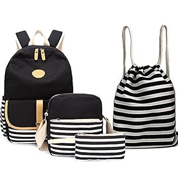BAGTOP School Backpack Set - Canvas Teen Girls Bookbags 15  Laptop Backpack + Lunch Bags + Drawstring Backpack + Pen Case Bags Set  Black-3