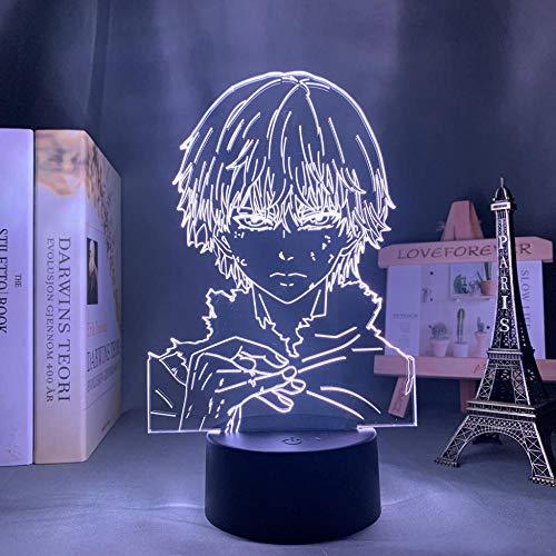 Lámpara de ilusión 3D de Tokyo Ghoul Ken Kaneki, decoración de dormitorio, luz nocturna, regalo de cumpleaños, acrílico, luz nocturna, anime, Tokyo Ghoul Maojie